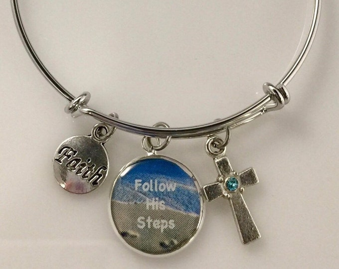 Christian bangle bracelet, Follow His Steps, Scripture Proverbs 3:5-6, Trust in the Lord, Swarovski crystal cross, silver bangle, Religious