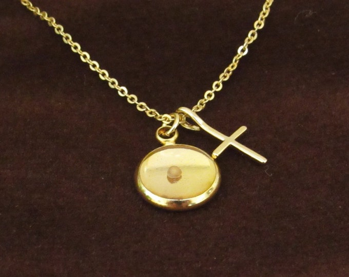Faith of a mustard seed charm necklace with petite gold charm with real mustard seed, gold cross and delicate gold chain