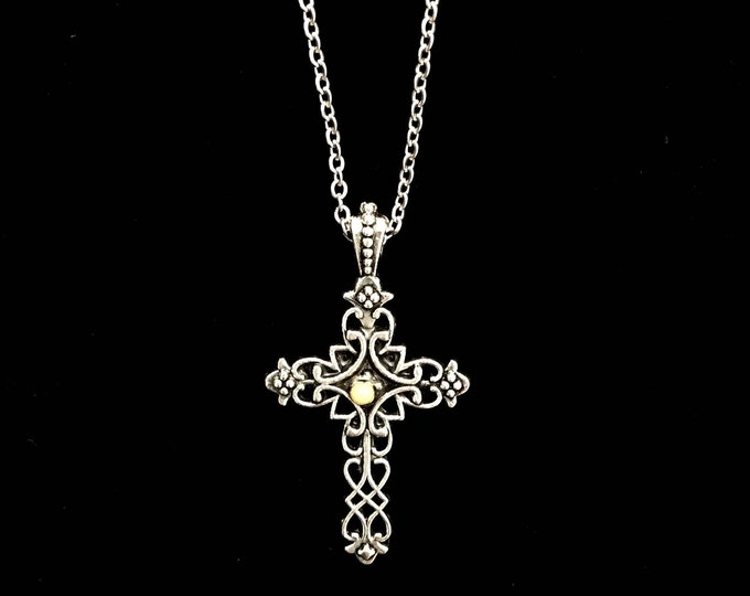 Silver filigree cross necklace with mustard seed center in antique silver, Filigree cross necklace for her, Silver Cross necklace for woman