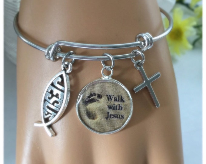 Christian Bangle Bracelet, Walk with Jesus, Scripture Jeremiah 29:11, Religious jewelry, Christian charm bracelet, Silver non-tarnish