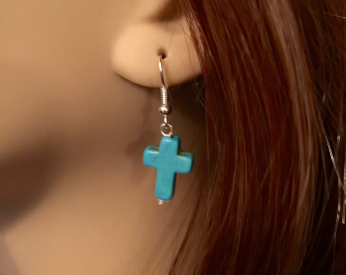 Turquoise Cross Pierced Earrings, Southwest silver and turquoise cross earrings, Gift for her, cross earrings, Southwest pierced earrings