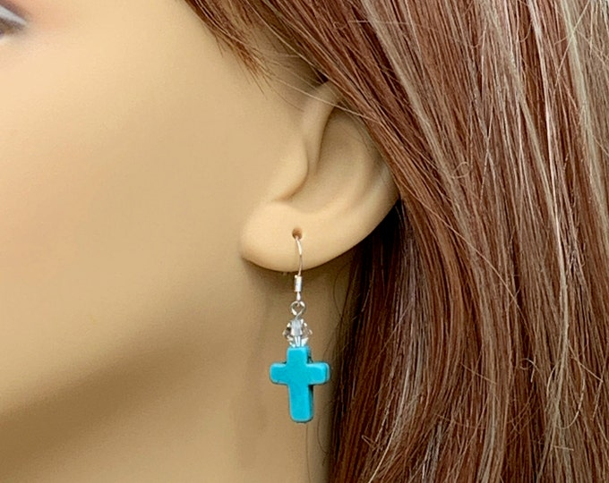 Turquoise cross and Swarovski crystal drop earrings, Southwest pierced earrings, Silver and turquoise with crystal drop earrings