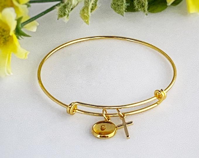 Gold faith bracelet for women, Faith of a mustard seed gold charm bracelet, Religious bracelet, Gold mustard seed bangle bracelet