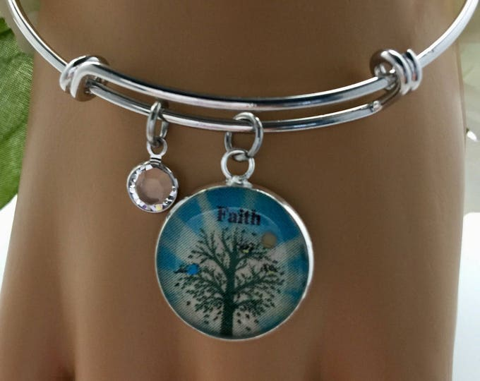 Tree of Life silver bangle bracelet with real mustard seed charm and Swarovski crystal, Adjustable faith of a mustard seed charm bracelet.