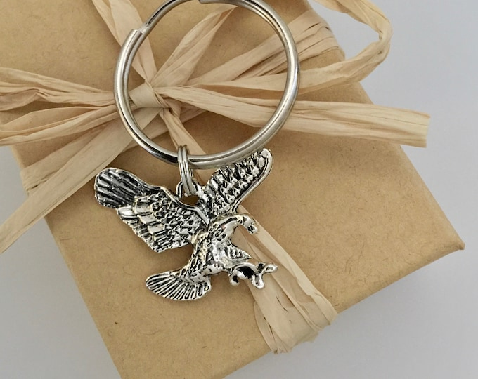 Silver eagle keychain for men, Keyring for men, Gift for men, American Eagle Keyring, Military keyring, Christian Keychain, Christian Gift