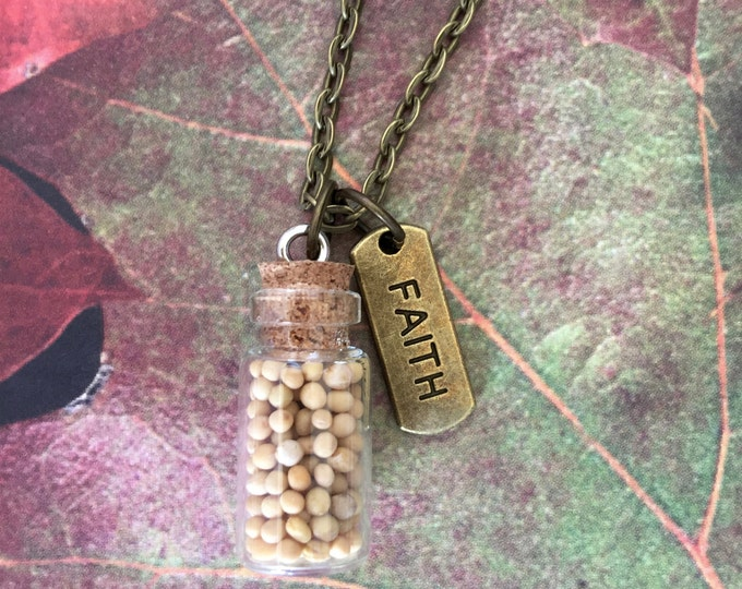 Mustard Seed Pendant with faith tag on antique bronze chain, Faith of a Mustard Seed, Christian Gifts, Scripture Matthew 17:20