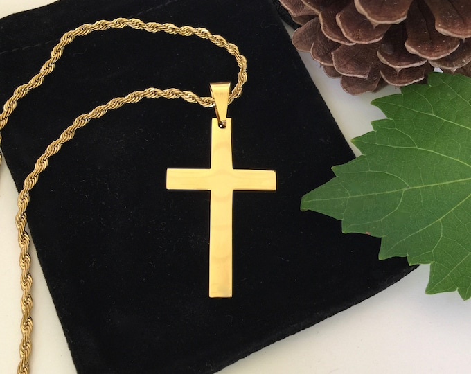 Gold cross necklace for men, highly polished gold stainless steel cross with gold curb chain, Christian Jewelry, Gift for Him