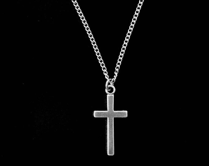 Silver cross necklace with stainless steel chain, Easter Gift, Mothers Day Gift, Cross for boys, Cross for girls, Unisex cross necklace.