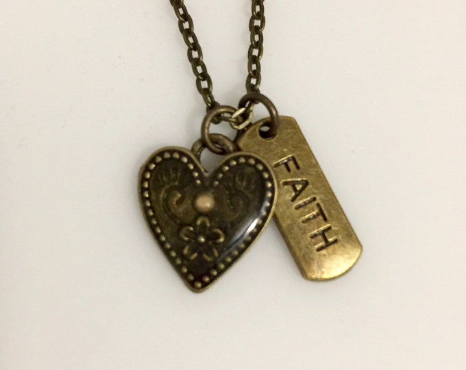Faith of a mustard seed charm necklace with heart in antique bronze with tiny mustard seed in heart and faith word charm, Gift for her