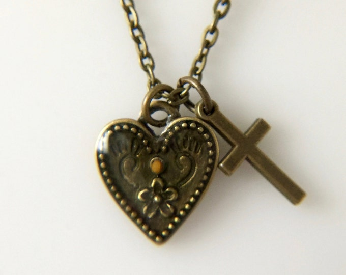 Faith of a mustard seed antique bronze heart and cross necklace with real mustard seed set in heart, faith of a mustard seed pendant
