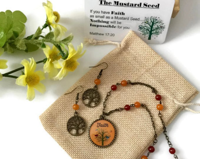 Mustard Seed Jewelry set, Antique Bronze with Gemstone beads,  Orange tree of life with pendant and tree earrings, Scripture Matthew 17:20