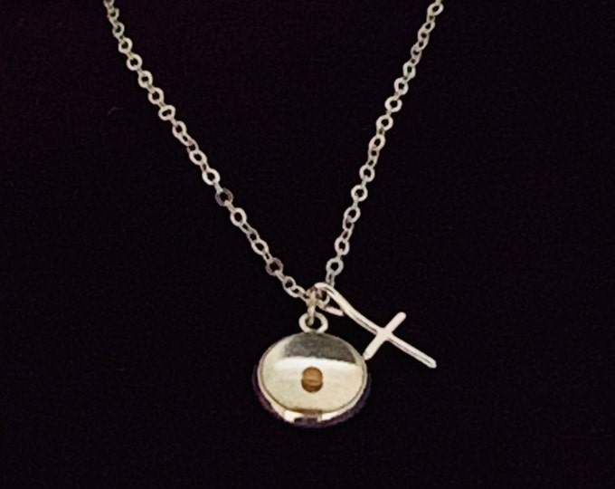 Silver faith of a mustard seed charm necklace with real mustard seed and cross on silver chain, Christian gift, Religious gift for her