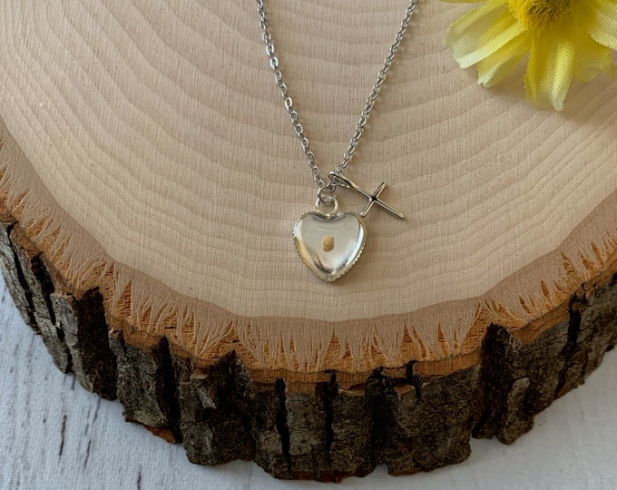 Silver Faith of a mustard seed necklace with real mustard seed, tiny silver heart and cross on petite silver chain, Religious gift for Women