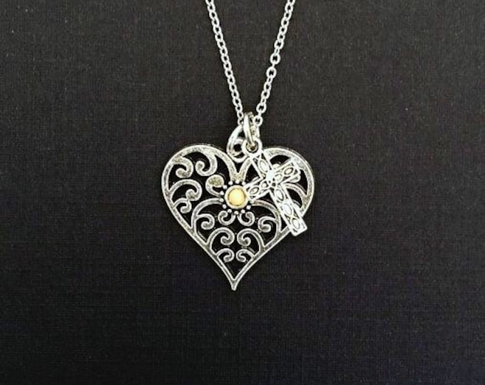 Christian Jewelry Mustard seed necklace, filigree heart necklace with mustard seed and cross charm and petite silver stainless steel chain