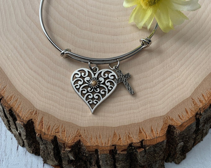 Faith of a mustard seed bangle bracelet, Silver filigree heart bracelet, Religious bracelet for her, Heart and cross bracelet for women