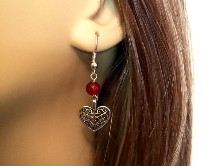 Filigree Heart drop earrings, Antique Silver filigree heart earrings, Red bead and antique silver filigree heart dangle earrings