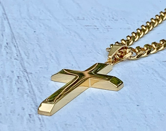 Gold stainless steel cross for men, Gold cross with beveled edges and beveled edge cuban link chain, Gold stainless steel cross and chain.
