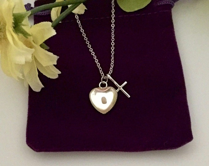 Silver Faith of a mustard seed necklace with tiny silver heart and cross on petite silver chain