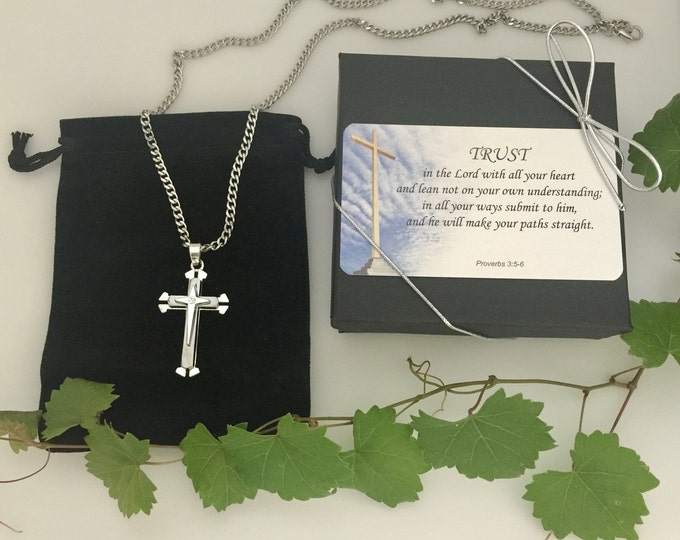 Silver and gray stainless steel cross necklace for men with cubic zirconia rhinestone center, Gift for him, Easter Gift