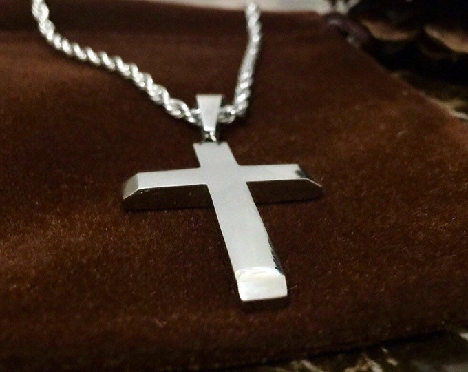 Silver stainless steel cross for men with silver stainless steel rope chain, masculine silver cross with beveled edges and silver rope chain