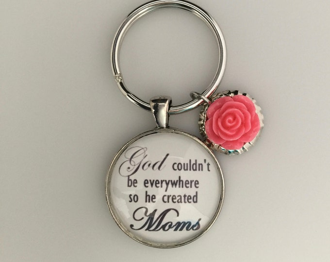 Mom Keychain, Gift for Mom, Silver Mom keychain with rose bud charm, scripture 1 Corinthians 13:7-8, Love never fails, Religious keychain