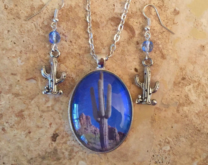 Southwest Jewelry Set, Cactus Jewelry in Blue and Silver with cactus charm earrings, Southwest cactus pendant and earrings, Desert jewelry