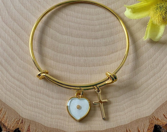 Gold mustard seed heart bracelet for young girls, Faith of a mustard seed, Religious springtime gift for young girls