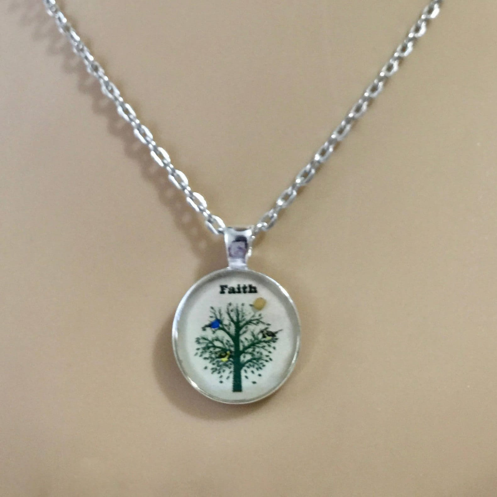 Mustard Seed Necklace With Silver Chain And Real Mustard Seed Cream