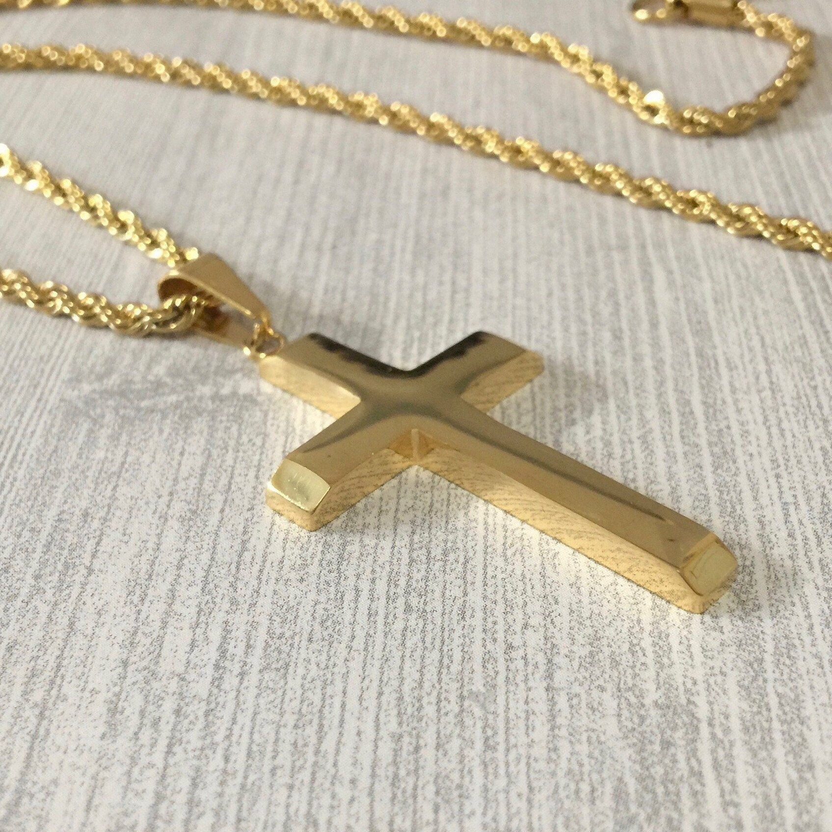 0de8feb9569 Gold cross necklace for men, Highly polished cross with twisted rope ...