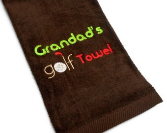 golf towel, gift for him, Grandad birthday, personalized golf, Father's Day, grandpa present, grandfather, embroidered golf, golfing gift