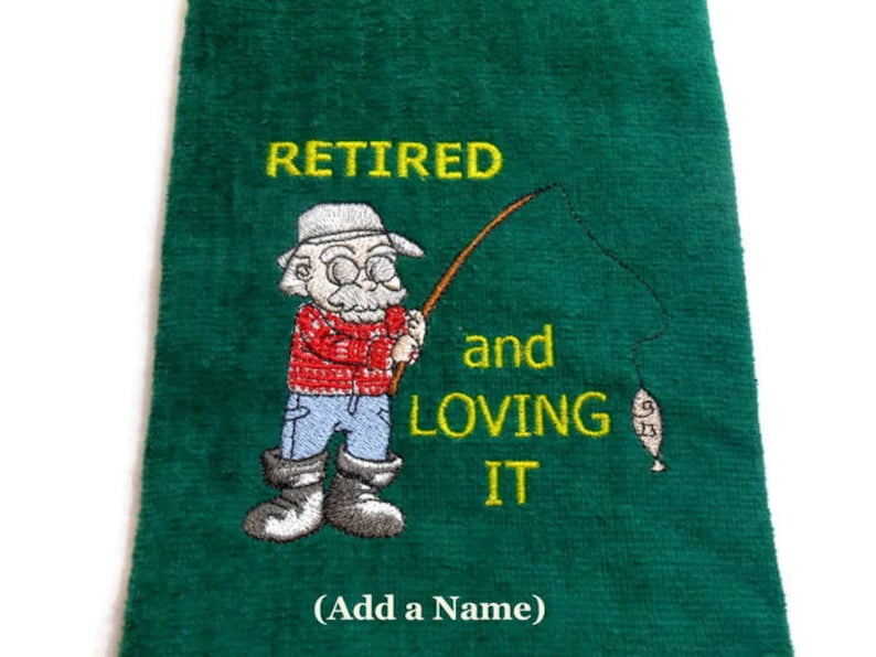 Fishing towel Retirement gift  for Fishermen  embroidered image 0