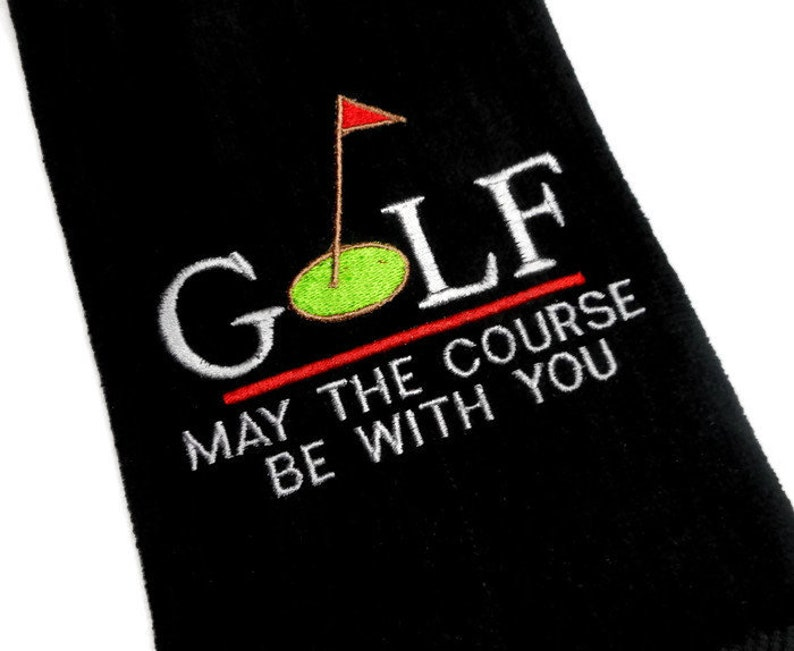 Golf towel May the course be with you gift for her gift image 0