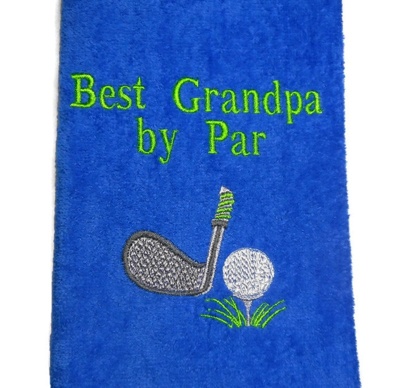 golf towel Best Grandpa by Par gift for men personalized image 0