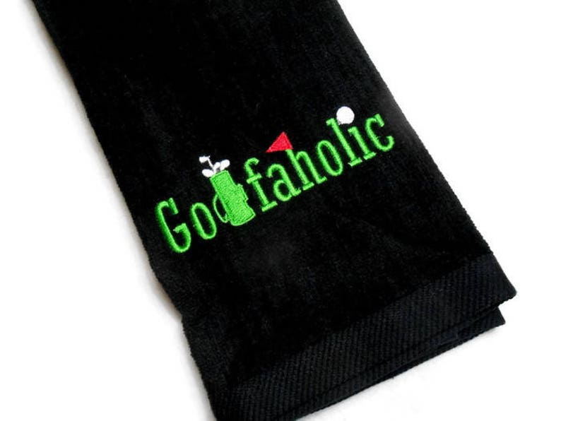 Golf towel gift for him Golfaholic embroidered towel image 0
