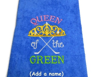 Golf towel, gift for her, crown jewels, Queen of the Green, funny gift for the, lady golfer, embroidered towel, personalize golf, customize