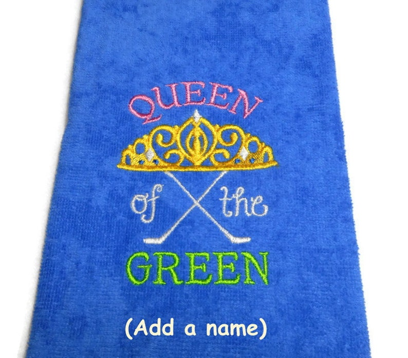 Golf towel gift for her crown jewels Queen of the Green image 0