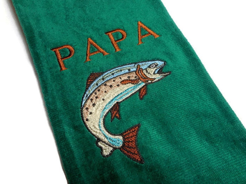 Fishing towel personalize gift fisherman towel embroidered image 0