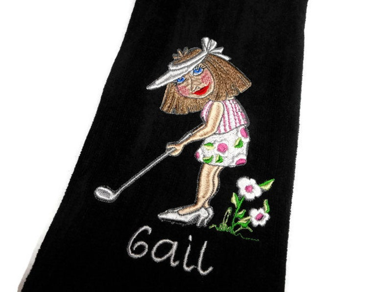 golf towel gift for her personalize gift lady golfer image 0