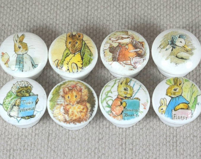 Featured listing image: Beatrix Potter Knobs, Wooden Knobs, Drawer Handles, Dresser Knobs, 3.5cm dia. Sets Available. Free Gift Wrapping!