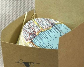 Map Coasters, Vintage Maps 1961, Coasters Personalised, Home Decor Ideas, Wanderlust Travel Gifts, Coasters, Coaster Gift Set,