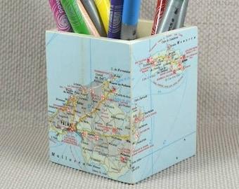 Map Pencil Pots