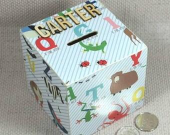Nursery Alphabet Money Box with Unicorns, Flamingos, Dinosaurs and Ladybirds