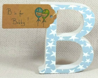 Baby Boy Nursery Letters Perfect Gift for Baby Boy Baby Shower Buy 3 Get 4th Free! Hand painted &  Hand drawn Name Tag + Free Gift Wrapping!