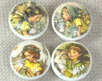 Handpainted Fairy Knobs, Wooden Knobs, Drawer Handles, Dresser Knobs, 3.5cm dia. Sets Available. Free Gift Wrapping!