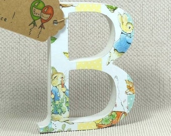 Sweet Peter Rabbit Nursery Letters, Hand painted with Farrow & Ball, Heights: 10cm, 13cm and 20cm. Free Gift Wrapping!