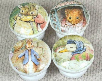 Beatrix Potter, Peter Rabbit & Flopsy Bunny Wooden Knobs, perfect for Drawer Handles or Dresser Knobs in baby Nursery, 3.5cm Dia