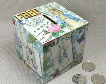 Personalised Peter Rabbit Money Box, Peter Rabbit, New Baby, Piggy Bank, Peter Rabbit Nursery, First Birthday, Free Gift Wrapping!