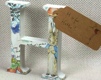 Hand painted Peter Rabbit Nursery Letters with Name Tag. Great for Baby Showers & Christening Gifts + Free Gift Wrapping!