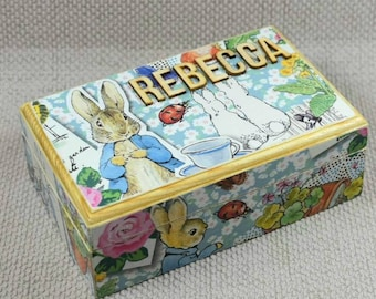 Peter Rabbit Pine Box with magnetic snap shut Lid