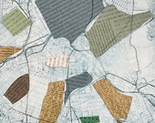Gerrymandered II, unique, political, etching with collage, mono print, map